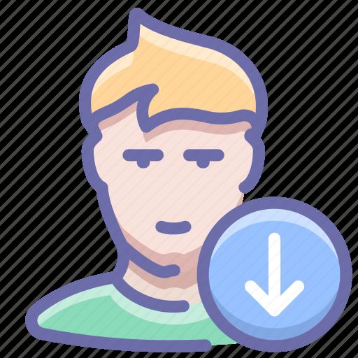 down, next, user icon