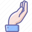 alms, hand, share icon