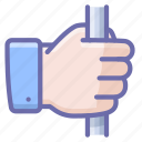 capture, fist, hand, handrail, holding, safety icon