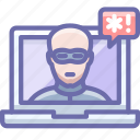 hacker, laptop, security icon