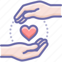 care, hands, love icon