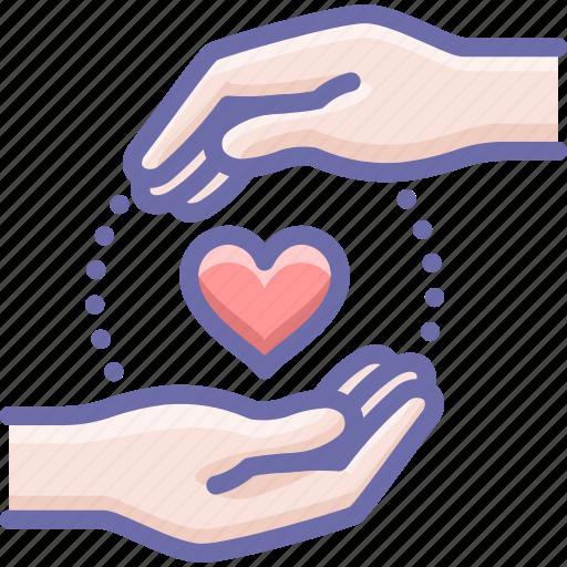 care, hands, love icon