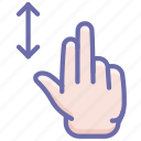 finger, gesture, hand, swipe, two, upright icon