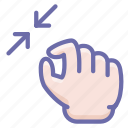 gesture, hand, squeeze, zoom icon