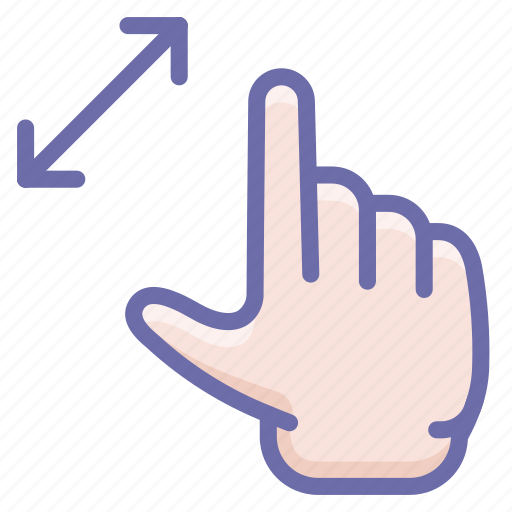 gesture, hand, zoom icon
