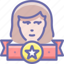 female, leader, rating, top, user, winner icon