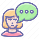 communication, message, woman icon