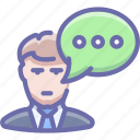 man, message, talk icon