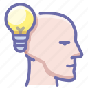 bulb, head, idea icon