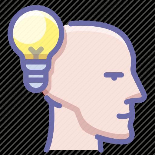 bulb, head, idea icon