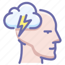 brainstorm, head, idea icon