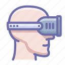 head, helmet, reality, virtual icon