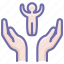 care, child, hands icon