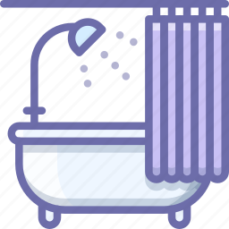 bath, bathtub, curtains icon