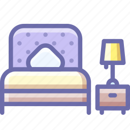 bed, bedroom, lamp icon