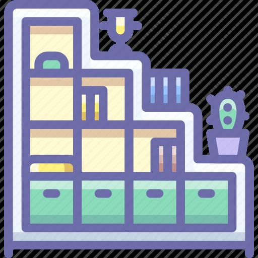 bookcase, cabinet, interior icon