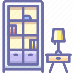 bookcase, cabinet, lamp icon