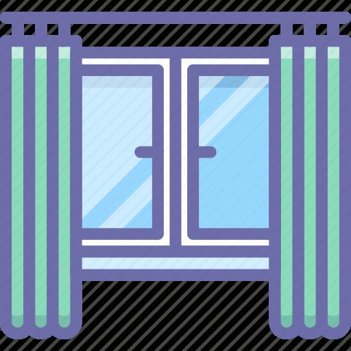 apartment, curtains, window icon