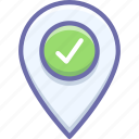 check in, pin icon