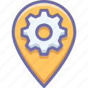 gear, geo, location icon