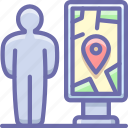 man, map, navigation icon