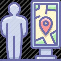 man, map, navigation icon