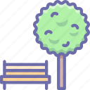 bench, park, tree icon