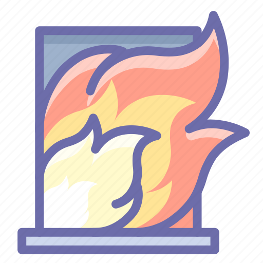 burning, fire, house icon