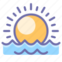 sea, sunrise, water icon