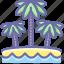 beach, palm, vacation icon