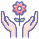 care, flower, hands icon