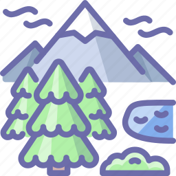 lake, mountains, nature icon