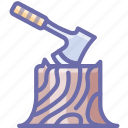 axe, camping, log icon
