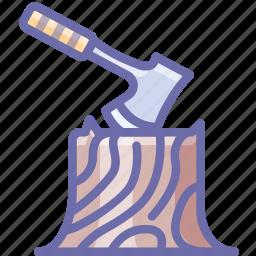 axe, camping, log icon