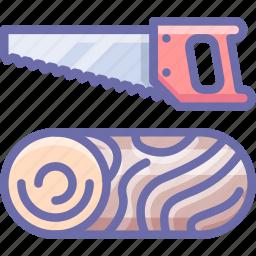 log, saw, wood icon