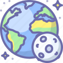 earth, moon, planet icon