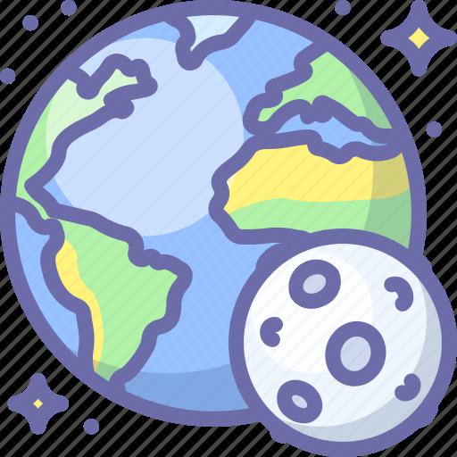 earth, moon, planet icon