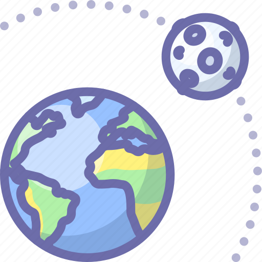 earth, moon, orbit icon