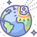collision, earth, meteor icon