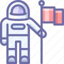 astronaut, exploration, flag icon