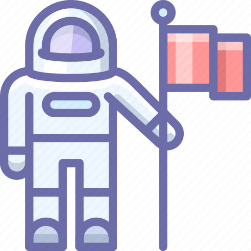 astronaut, exploration, flag icon