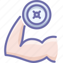 fitness, gym, hand icon