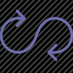 arrow, loop, play icon