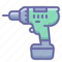 cordless, drill, screwdriver, tool icon