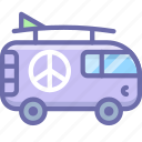 combi, hippy, vacation, van icon