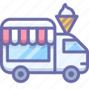 ice cream, shop on wheels, van icon