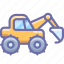 construction, digger, excavator, industrial icon