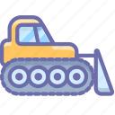 bulldozer, caterpillar, construction, dozer, industrial icon