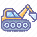 caterpillar, construction, digger, excavator, industrial icon