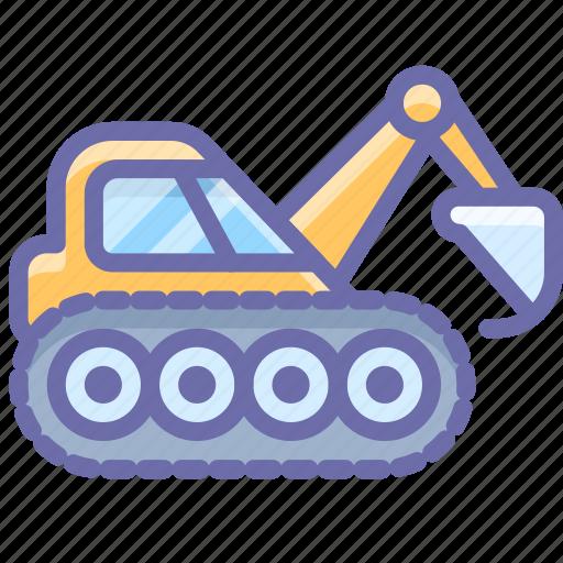caterpillar, construction, digger, excavator, industrial icon